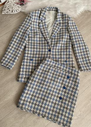 Твидовый костюм,  жакет,  юбка