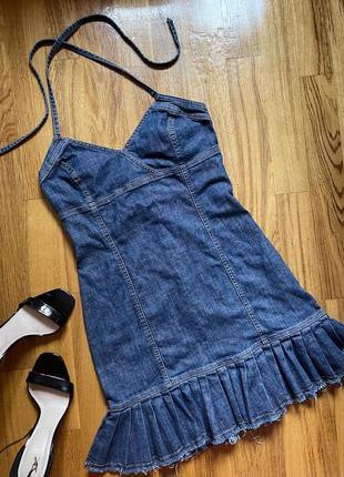 Платье джинсовое мини сарафан джинс