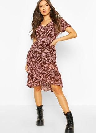 Летнее шифоновое платье с цветочным принтом и оборками