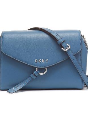 Стильная кожаная голубая сумочка-кроссбоди dkny lola (донна каран нью-йорк лола), оригинал