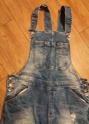 Бренжовий джинсовий комбінезон
