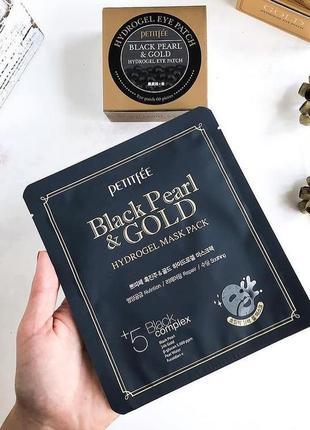 Гідрогелева маска для обличчя petitfee з чорними перлами та золотом