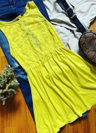 Летнее платье мини желтое платье