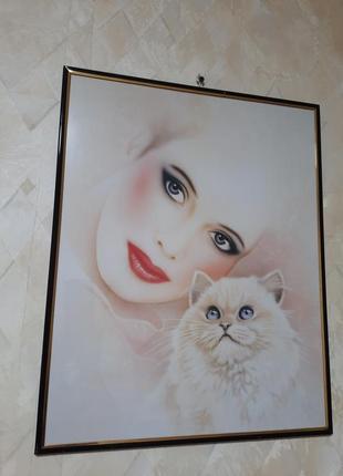 Картина девушка и кот 50х40