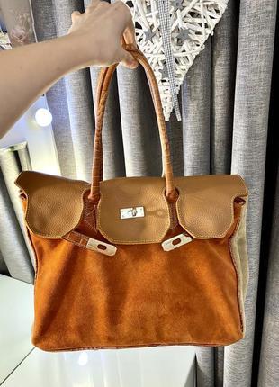 Сумка из натуральной комбинирований кожи episode, сумка-тоут в стиле hermès birkin 1+1=3
