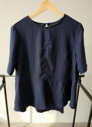 Синяя блуза с баской из крепа большой размер tcm tchibo