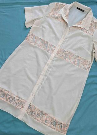Шикарное платье- рубашка! р.16(48-50)!