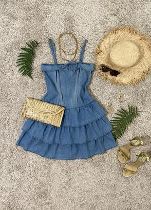 Распродажа!!! милое джинсовое платье в рюшах №445