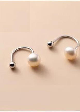Серебряные серьги закрутки с натуральным белым жемчугом