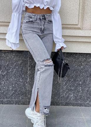 Модные джинсы палаццо серые с дырками и потортостями высокая талия5 фото