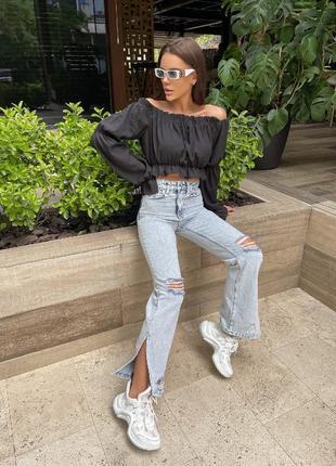 Модные джинсы палаццо серые с дырками и потортостями высокая талия7 фото