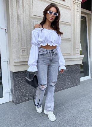 Модные джинсы палаццо серые с дырками и потортостями высокая талия3 фото