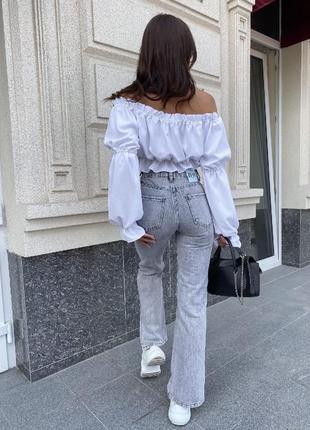 Модные джинсы палаццо серые с дырками и потортостями высокая талия6 фото