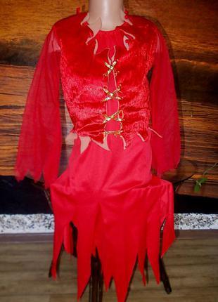 Платье маскарадное на 11-14 лет чертик или ведьмочка