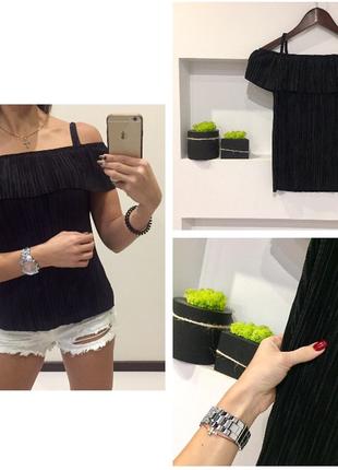 Шикарная черная блуза майка с открытыми плечами жатка гафре top shop