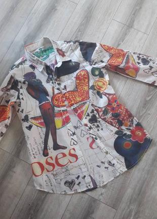 Коттоновая рубашка в принт