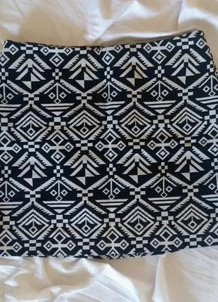 Юбка мини чёрно-белая h&m