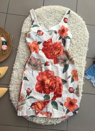 Платье лен льняное сарафан натуральное цветочное плаття сукня