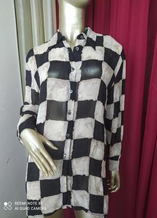 🖤🤍🖤🤍🖤🤍стильна шифонова блуза рубашка принт шахматка petite principles