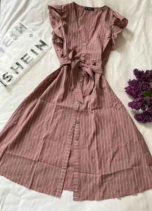 Платье сарафан миди в полоску нежного цвета shein