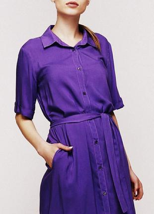 Котоновое платье рубашка zero с карманами