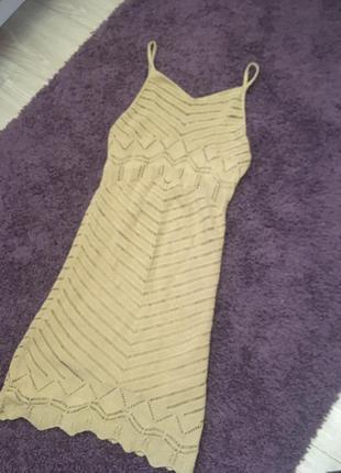 Платье мини вязаное летнее на бретелях