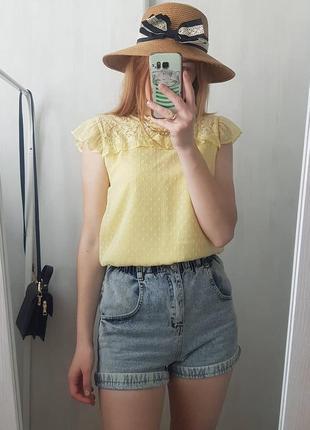 Шифонова лимонна блуза lindex