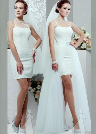 Свадебное платье,  трансформер, съёмная юбка, весільна сукня, мереживо,