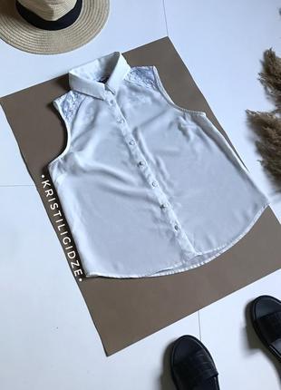 Короткая белая блуза под шифон р. s