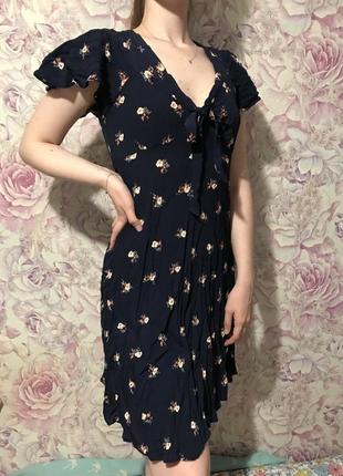 Синее платье вискоза цветочный принт миди new look s m