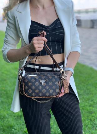 Сумка guess arie logo double pouch crossbody