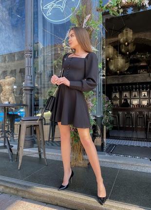 Женское платье короткое длинный рукав черное, беж