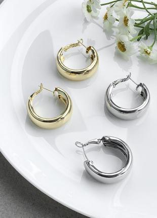 Серьги кольца массивные в золоте и серебре за 1 пару