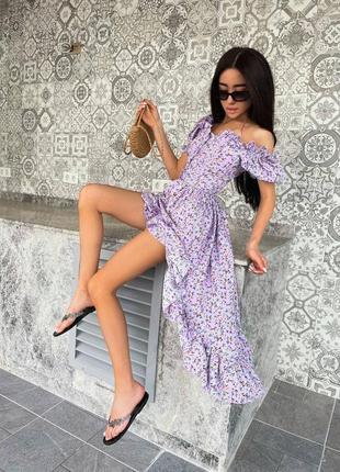 Платье летнее каскадное на пуговицах