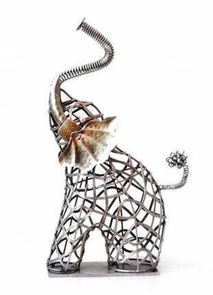 Статуэтка интерьерная из металла слон ручная работа