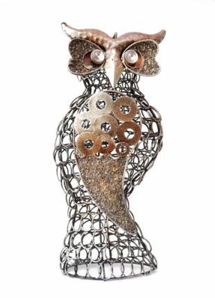 Статуэтка интерьерная из металла сова стимпанк