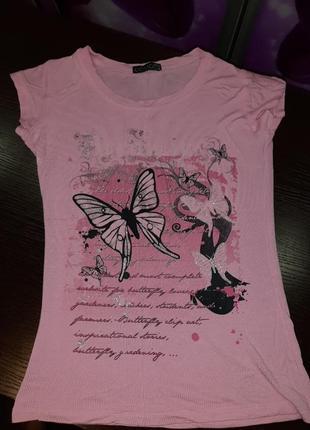 Нарядная розовая лёгкая летняя футболка принт блёстки
