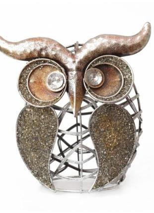Статуэтка металлическая интерьерная сова стимпанк