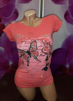 Нарядная лёгкая футболка хб кораловая принт блестит3 фото