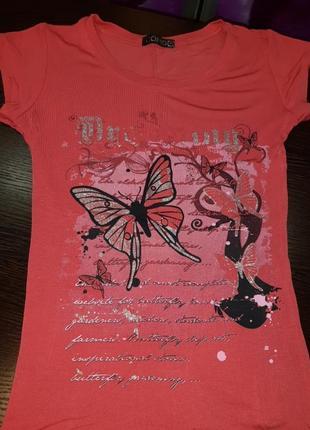 Нарядная лёгкая футболка хб кораловая принт блестит2 фото