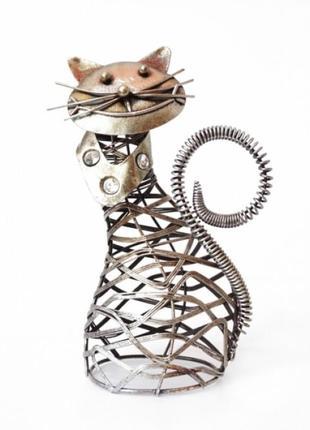 Статуэтка из металла кот интерьерный стимпанк