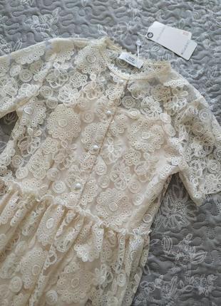 Нарядное кружевное нежное платье миди с комбинацией