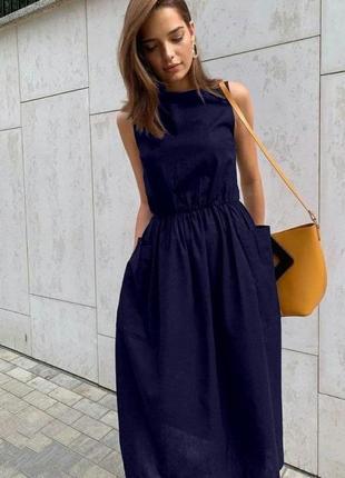 Платье длины миди с накладными карманами 💃