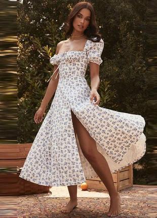 Платье цветочное миди