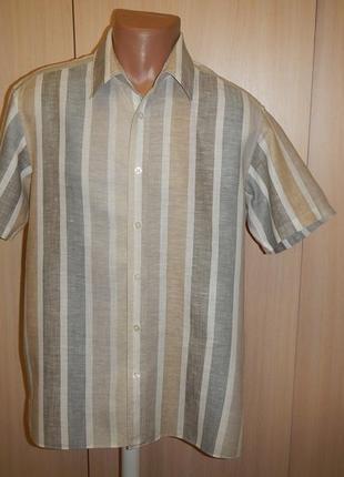 Льняная тенниска рубашка marks & spencer p.m лён хлопок