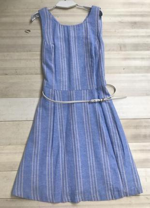 Платье в полоску лен/ вискоза