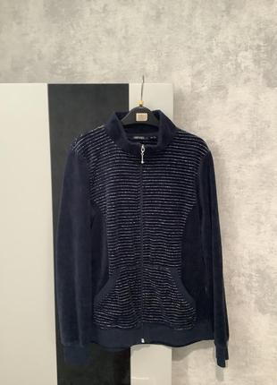 Бренд esmara🔥 велюровая темно синяя кофта на молнии, худи, толстовка размер м