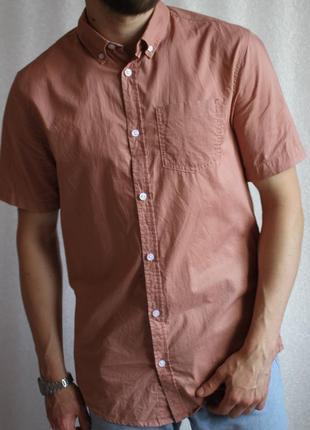 Рубашка персикового цвета летняя с коротким рукавом новая