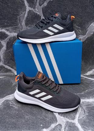 Летние мужские кроссовки adidas galaxy серые, сетка