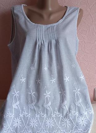 Красивая майка блуза с вышивкой lisa tossa 100% хлопок акция 1+1 =3 на блузы , рубашки , футболки